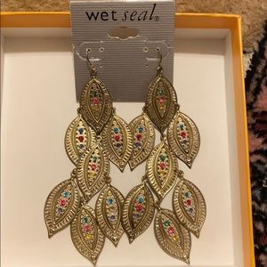 Gold tone leaf inspired earrings - from Wet seal